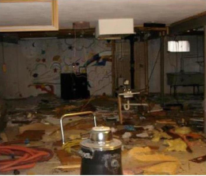 Storm Damaged Basement in Arlington, VA Before